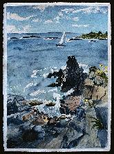 sailboat off bailey island maine watercolor by sarah laurence
