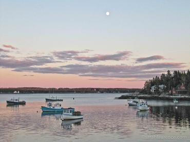 lobster boats, Maine, islands, sunset, harbor