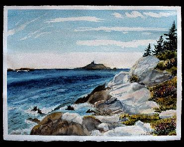 Seguin Island watercolor by Sarah Laurence