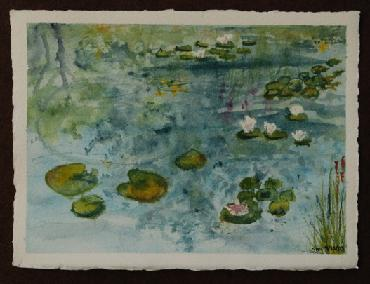 lilly pond watercolor by Sarah Laurence