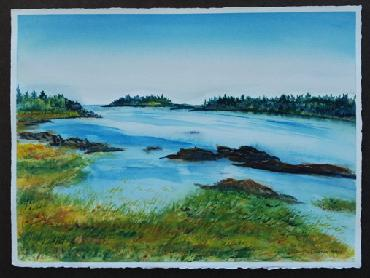 Sagadahoc Bay watercolor by Sarah Laurence