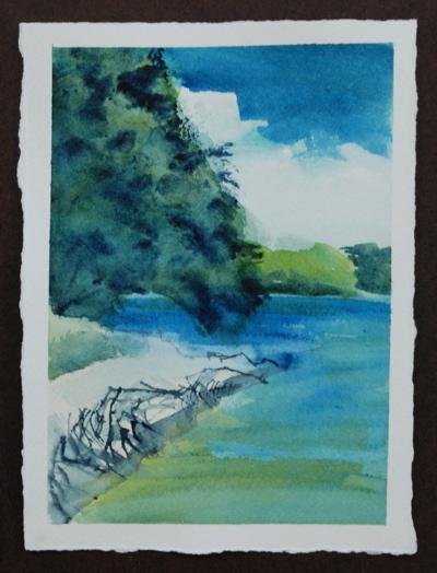 wolfe's neck park watercolor painting by sarah laurence