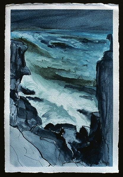 painting of stormy seas, waves crashing on rocks, Maine watercolor