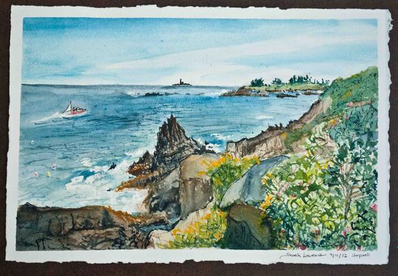 painting of lobster boat in Maine, watercolor