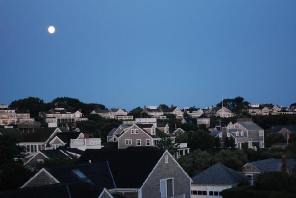 moonset on Nantucket Island