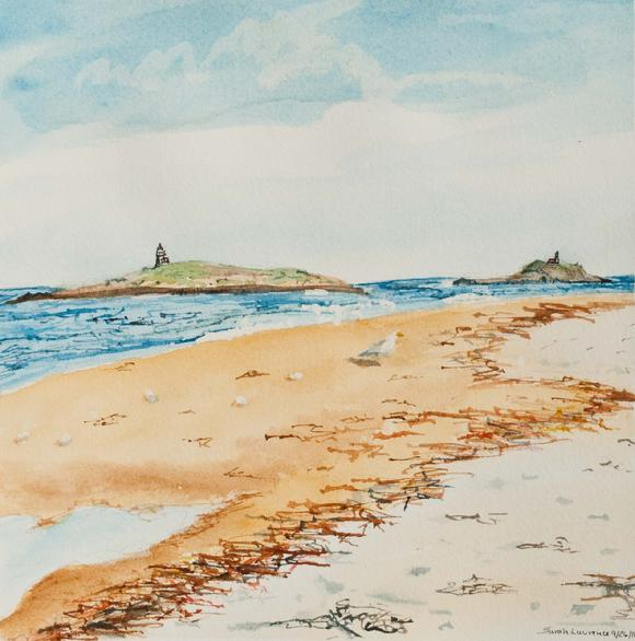 watercolor painting of island with lighthouse and seagull on Popham beach in Maine
