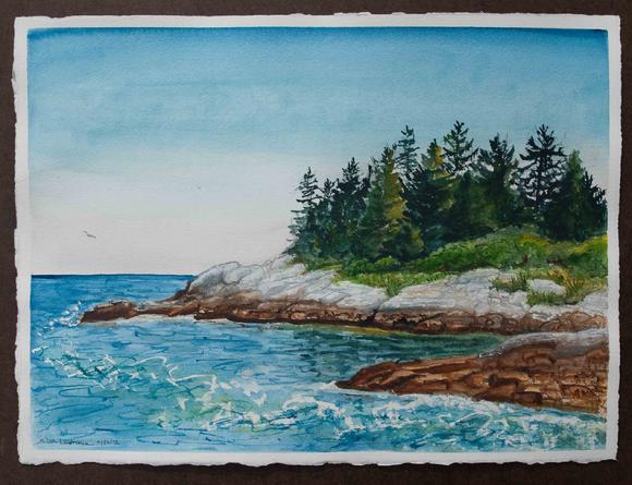painting of Reid State Park, Maine, watercolor