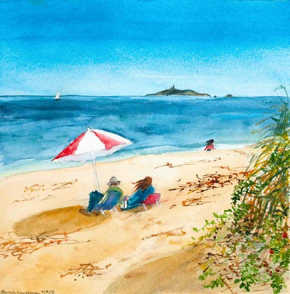 painting of people sitting under beach umbrella with view of Seguin Island, Maine watercolor
