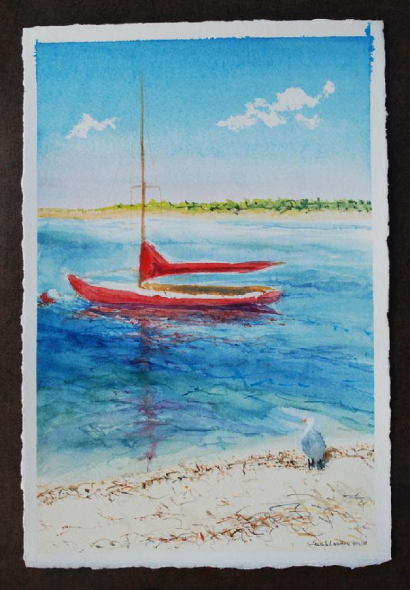 red sailboat off nantucket island watercolor painting by sarah laurence